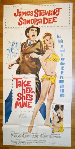TAKE HER, SHE'S MINE (1963) 10093  Movie Poster  James Stewart   Sandra Dee   20th Century Fox Original Three Sheet Poster (41x81) Folded  Very Good Average Used Condition