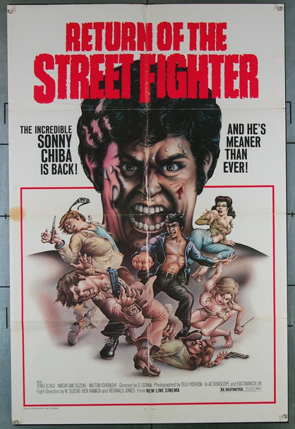 RETURN OF THE STREET FIGHTER (1975) 9419  Movie Poster  U.S. Release  Shigehiro Ozawa New Line Cinema Original One-Sheet Poster (27x41) Folded  Fine Plus Condition