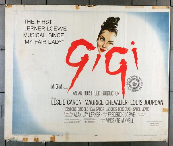 GIGI (1958) 29417  Original U.S. Half-Sheet Poster   Fair Condition Only  Trimmed  Leslie Caron Original U.S. Half Sheet Poster (22x28)  Trimmed on Right Border  Fair Condition Only