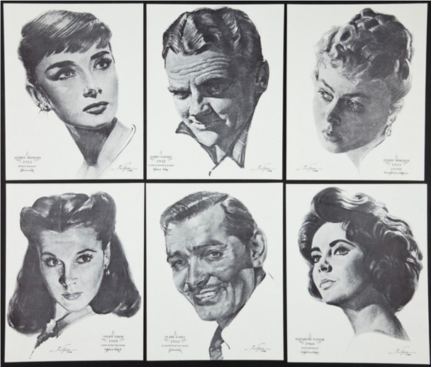 ACADEMY AWARDS PORTRAIT COLLECTION (1961) 27925   NICHOLAS VOLPE SKETCHES Academy Award Winning Actors Portfolio (1961)  8x10 lithgraphs of the Stars!  69 individual lithos