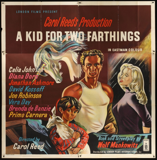 KID FOR TWO FARTHINGS, A (1956) 21371  Stone Lithograph from UK  Sir Carol Reed Original London Films International British Six Sheet Poster (77x79). Stone Lithograph. Folded. Very Good To Fine.