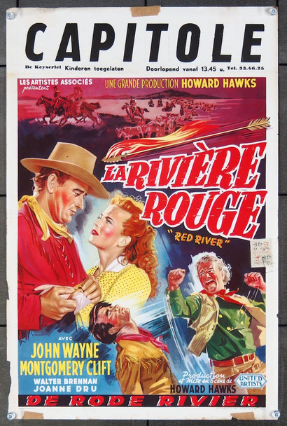 RED RIVER (1948) 21707  John Wayne   Montgomery Clift   Howard Hawks  Belgian Poster Original United Artists Belgian Poster (14x22).  Fine Plus Condition