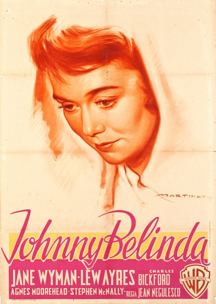 JOHNNY BELINDA (1948) 24626   Oscar Winner Jane Wyman  Art by Luigi Martinati Warner Brothers original Italian poster   39x55  Very Fine condition   JANE WYMAN