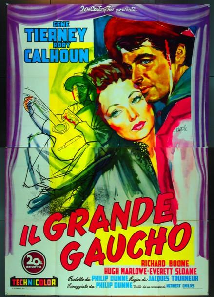 WAY OF THE GAUCHO (1952) 24879   Gene Tierney   Rory Calhoun  Italian 79x55  Original Italian Two Sheet Poster (55x79).  Folded.  Very Fine Condition.