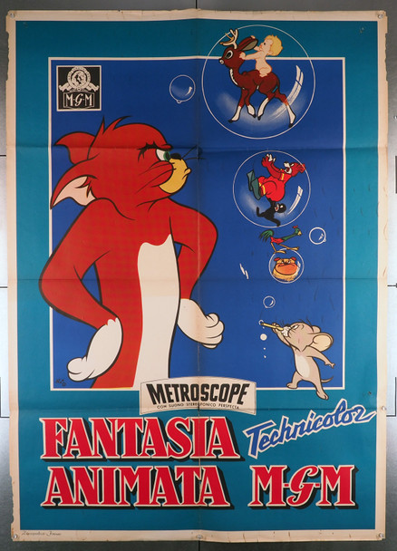 FANTASIA ANIMATA (1958) 15436  Italian Tom and Jerry Animation Poster from MGM Original Italian 39x55 Poster   Folded   Very Good Plus Condition