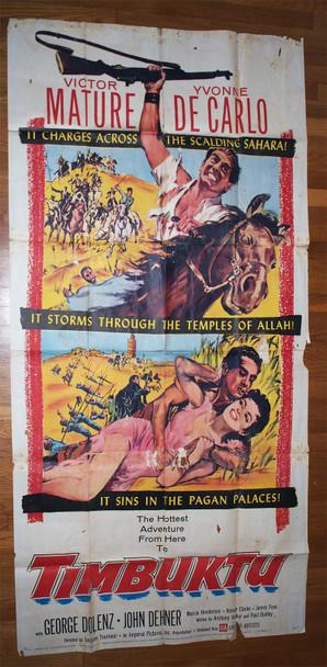 TIMBUKTU (1959) 29418  Movie Poster  Victor Mature  Yvonne DeCarlo  Average Used Condition Original U.S. Three Sheet Poster (41x81)  Average Used Condition  Fair to Good