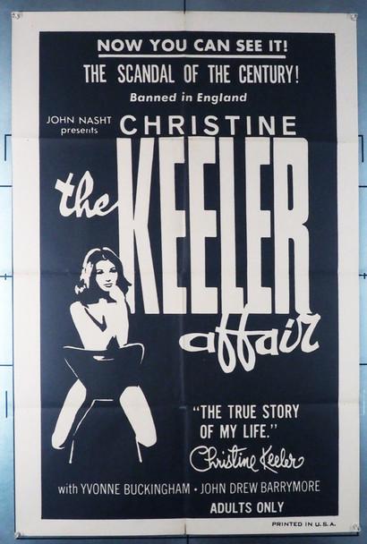 CHRISTINE KEELER AFFAIR, THE (1963) 12025  Exploitation Movie Poster   Yvonne Buckingham as Christine Keeler Original U.S. One-Sheet Poster (27x41) Folded  Fine Plus Condition