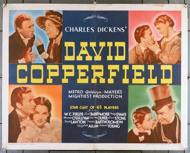 DAVID COPPERFIELD (1935) 7376  Movie Poster   Re-release of 1962   W.C. Fields   Freddie Bartholomew Original U.S. Half Sheet (22x28)  Re-release of 1962  Folded  Very Good Plus Condition