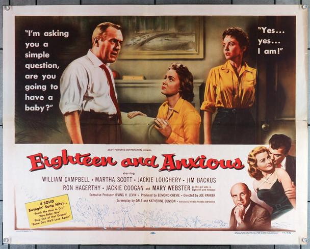 EIGHTEEN AND ANXIOUS (1957) 8146  Movie Poster  Mary Webster   Jim Backus   Martha Scott   Original U.S. Half-Sheet Poster (22x28)  Folded  Fine Plus Condition