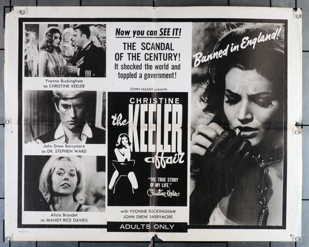 CHRISTINE KEELER STORY, THE (1963) 3740  Yvonne Buckingham   John Drew Barrymore Original U.S. Half-Sheet Poster  (22x28)  Folded  Theater Used  Average Used Condition