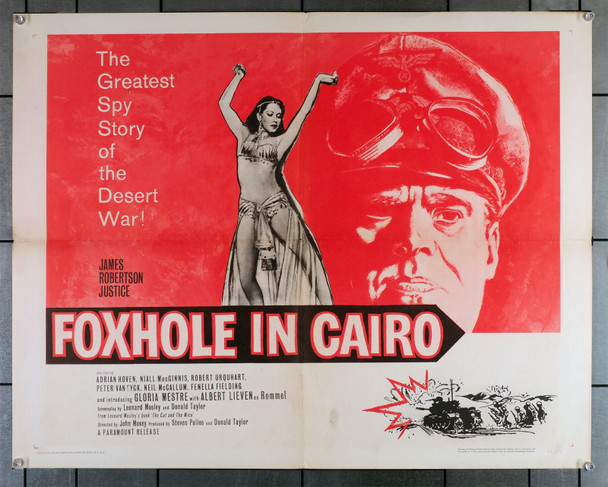 FOXHOLE IN CAIRO (1960) 16896   James Robertson Justice   Peter Van Eyck   John Moxey Original U.S. Half-Sheet Poster (22x28)  Folded  Fine Plus Condition