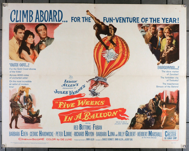 FIVE WEEKS IN A BALLOON (1962) 7539  Movie Poster   Jules Verne story stars Red Buttons Peter Lorre  Fabian   Barbara Eden Original U.S. Half-Sheet Poster (22x28) Folded  Fine Plus Condition