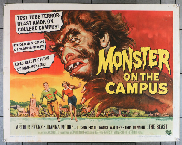 MONSTER ON THE CAMPUS (1958) 8181   Troy Donahue  Joanna Moore   Art by Reynold Brown Original U.S. Half-Sheet Poster (22x28) Folded   Fine Condition  Theater-Used