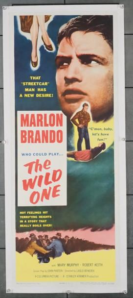 WILD ONE, THE (1953) 28676  Movie Poster  Marlon Brando as Biker Rebel Columbia Pictures Original U.S. Insert Poster (14x36)  Linen-Backed  Fine Plus Condition
