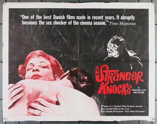 STRANGER KNOCKS, A  (1959) 12052  Danish Film  EN GREMMED BANKER PA  Director JOHAN JACOBSEN U.S. Original Half-Sheet Poster  Folded  Very Good Plus Condition