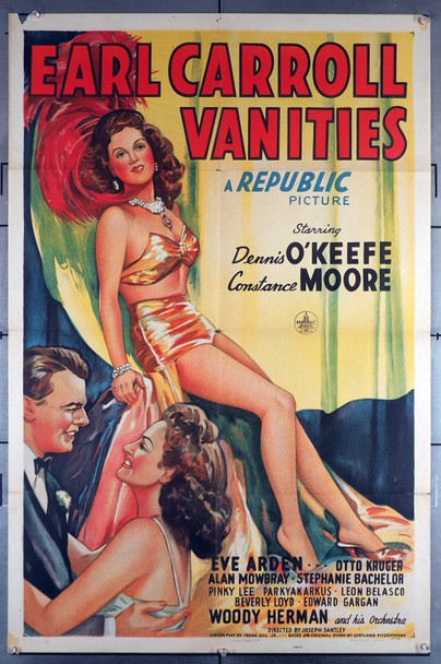 EARL CARROLL VANITIES (1945) 12481  Stone lithograph full figure of Constance Moore Original U.S. One-Sheet Poster (27x41) Folded  Theater Used  Very Good Plus to Fine Condition