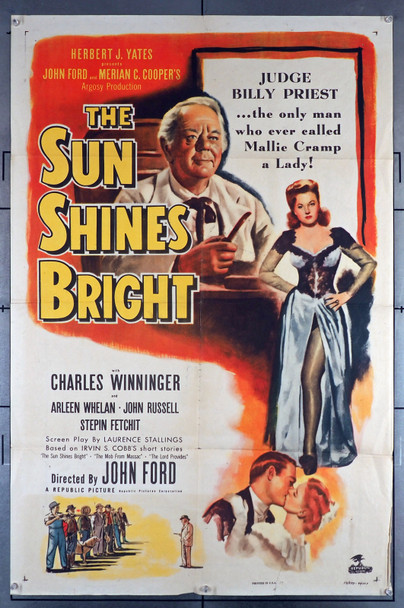 SUN SHINES BRIGHT, THE (1953) 12090  Movie Poster   Charles Winninger  Arleen Whelan   John Ford Original U.S. One-Sheet Poster (27x41) Folded  Theater Used  Very Good Plus to Fine Condition