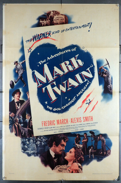 ADVENTURES OF MARK TWAIN, THE (1944) 12091  Fredric March   Alexis Smith   Irving Rapper Original U.S. One-Sheet Poster (27x41) Folded Very Good Plus Condition