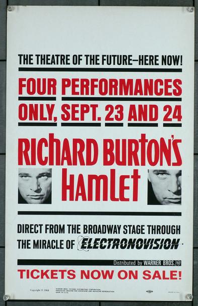 HAMLET (1964) 8483   Electronovision War Bros Window Card  14x22  Very Fine  RICHARD BURTON Original U.S. Window Card for the Electronovision Presentation of Richard Burton's Hamlet
