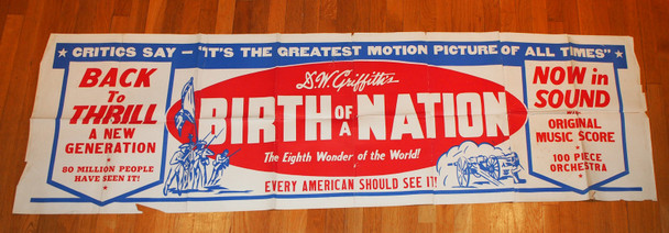 BIRTH OF A NATION (1915) 7553 Silkscreen Paper Banner  Re-release  (1940)  Folded  D.W. Griffith Re-release Paper Banner  24 inches by 80 inches