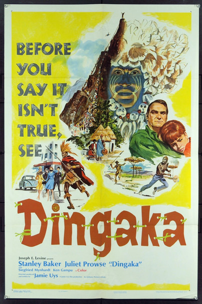 DINGAKA (1965) 11049 Original Embassy Pictures One Sheet Poster (27x41).   Fine Plus Condition.