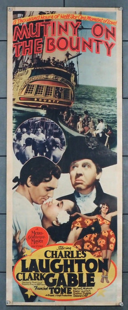 MUTINY ON THE BOUNTY (1935) 16953  Movie Poster Oscar Winner  Best PIcture!  Clark Gable  Charles Laughton Original MGM Insert Poster (14x36). Good condition.