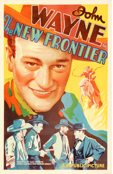 NEW FRONTIER, THE (1935) 29437  John Wayne Portrait on a Republic Pictures One-Sheet Poster Original U.S. One-Sheet Poster (27x41)  Linen-Backed  Fine Condition