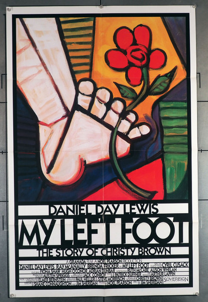 MY LEFT FOOT: THE STORY OF CHRISTY BROWN (1989) 29385  Daniel Day-Lewis Movie Poster Sovereign Pictures Original U.S. One-Sheet Poster (27x41)  Folded  International Style