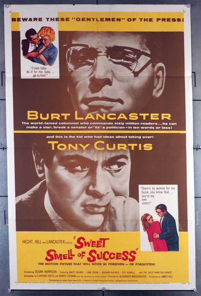 SWEET SMELL OF SUCCESS (1957) 29448  Movie Poster  Burt Lancaster  Tony Curtis   Alexander Mackendrick Original U.S. One-Sheet Poster (27x41) Folded  Fine Plus Condition