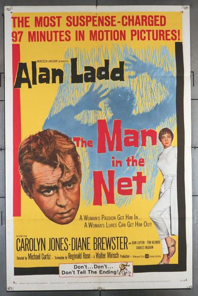 MAN IN THE NET, THE (1959) 11390  Movie Poster   Alan Ladd  Carolyn Jones  Michael Curtiz Original U.S. One-Sheet Poster (27x41) Folded  Fine Plus Condition