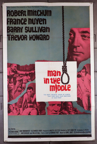 MAN IN THE MIDDLE (1963) 11389  Movie Poster (27x41)  Robert Mitchum   France Nuyen  Trevor Howard Original U.S. One-Sheet Poster (27x41) Folded  Fine Condition