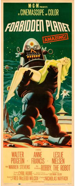 FORBIDDEN PLANET (1956) 29379   Science Fiction Classic Film Poster   Robbie the Robot Original U.S. Insert Poster (14x36) Fine Plus Condition