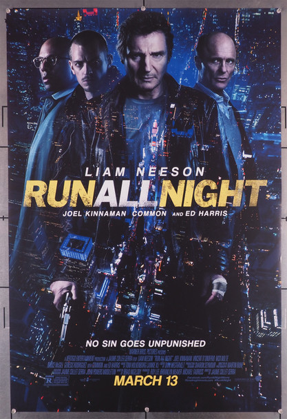 RUN ALL NIGHT (2015) 29458  Movie Poster  Liam Neeson  Ed Harris  Bruce McGill  Vincent D'Onofrio  COMMON Original U.S. One-Sheet Poster (27x40)  Rolled  Double-Sided  Very Fine Condition