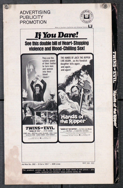 TWINS OF EVIL (1971) 29451  Pressbook for Double-Feature with HANDS OF THE RIPPER  HAMMER FILMS Original Pressbook for Double Feature Release    11 Pages  Ads and Publicity Material