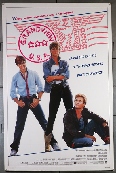 GRANDVIEW USA (1984) 431  Jaime Lee Curtis  Patrick Swayze  C. Thomas Howell  Movie Poster Warner Brothers Original U.S. One-Sheet Poster (27x41) Rolled  Fine Plus to Very Fine