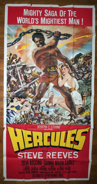 HERCULES (1959) 12712  Large Film Poster   Steve Reeves as Hercules Original Warner Brothers Three Sheet Poster (41x81).  Folded.  Very Good Theater-Used