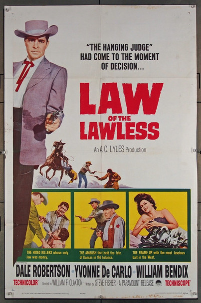 LAW OF THE LAWLESS (1964) 696  Movie Poster   Dale Robertson Original Paramount Pictures One Sheet Poster (27x41).  Folded.  Very Good to Fine Condition