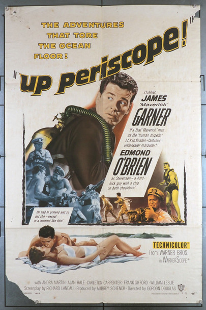 UP PERISCOPE! (1959) 698  Movie Poster  Fair Condition Only  James Garner  Edmond O'Brien Original Warner Brothers One Sheet Poster (27x41)  Folded  Theater Used  Worn