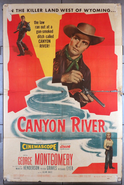 CANYON RIVER (1956) 693  Movie Poster  George Montgomery Original U.S. One-Sheet Poster (27x41)  Folded  Fair Condition  Theater Used and Worn