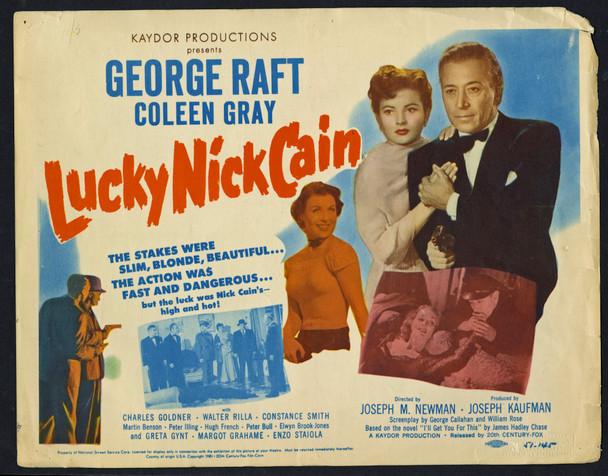 LUCKY NICK CAIN (1951) 10789  Lobby Card  George Raft  Coleen Gray Original U.S. Title Lobby Card (11x14)  Fair to Good Condition