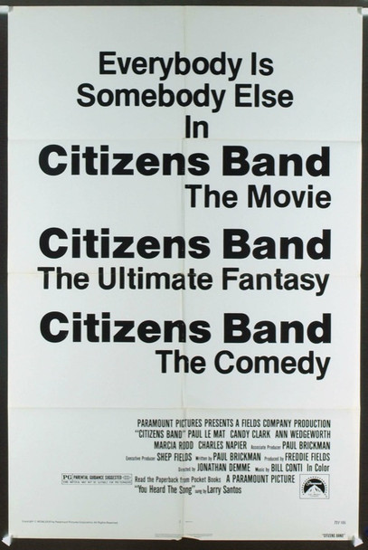 CITIZENS BAND (1977) 11763  Movie Poster  27x41  Folded  Paul Le Mat  Candy Clark  Jonathan Demme Original Paramount Pictures Advance One Sheet Poster (27x41) (Alternate Title: CITIZEN'S BAND). Folded. Very Good Condition.