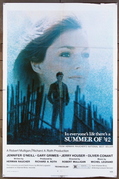 SUMMER OF '42 (1971) 11767  Movie Poster   Gary Grimes  Jennifer O'Neill   Robert Mulligan Warner Brothers Original One-Sheet Poster  Folded  (27x41)  Very Good