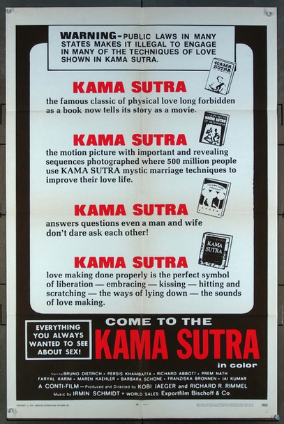 KAMA SUTRA '71 (1971) 11762 Movie Poster  (27x41)  Film directed by Kobi Jaeger American International One-Sheet Poster  (27x41)  Folded  Very Fine