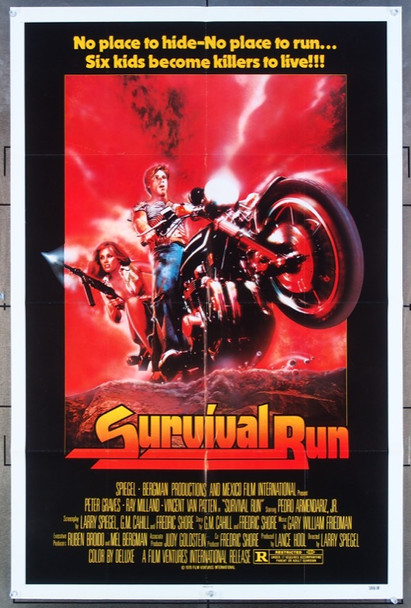 SURVIVAL RUN (1979) 11764  Movie Poster  (27x41)  Vincent Van Patten   Ray Milland  Peter Graves Original FVI One-Sheet Poster  27x41  Folded  Very Good Plus to Fine Condition