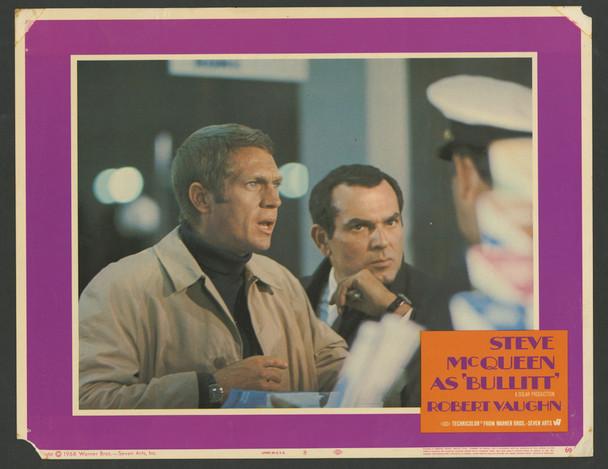 BULLITT (1969) 4371   Original Scene Lobby Card   Steve McQueen   Don Gordon Original U.S. Scene Lobby Card   Card Number 8 in Fair to Good Condtion