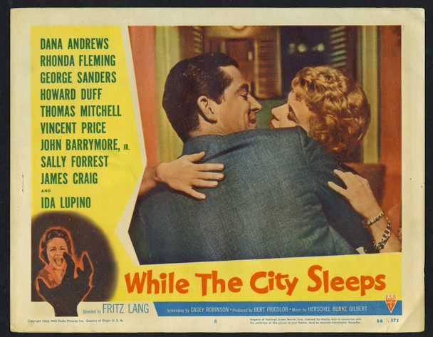 WHILE THE CITY SLEEPS (1956) 9235 Movie Poster  Dana Andrews  Rhonda Fleming Original Lobby Cards  Two Individual Cards  (11x14)  Very Good Plus