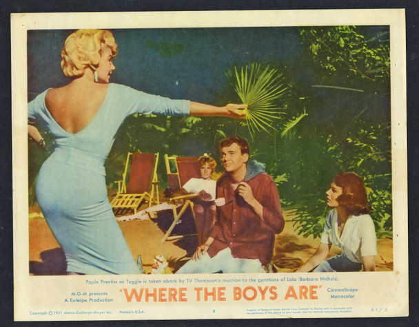 WHERE THE BOYS ARE (1961) 14032 Movie Poster  Jim Hutton  Paula Prentiss  Barbara Nichols Original U.S. Scene Lobby Card (11x14) Fine Condition