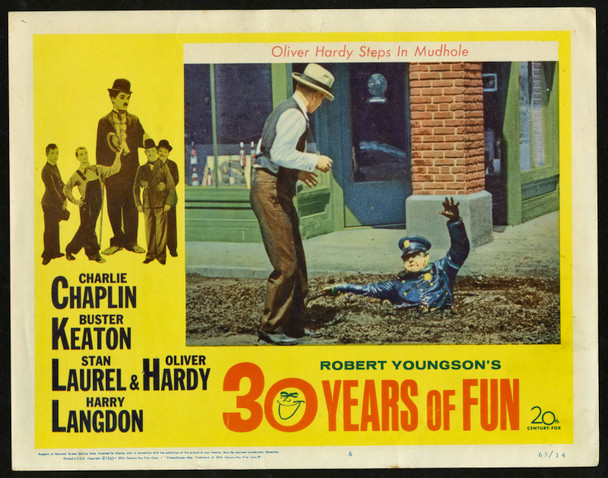ROBERT YOUNGSON'S 30 YEARS OF FUN (1963) 29494  Stan Laurel and Oliver Hardy Lobby Card Original U.S. Scene Lobby Card (11x14)  Fine Plus Condition