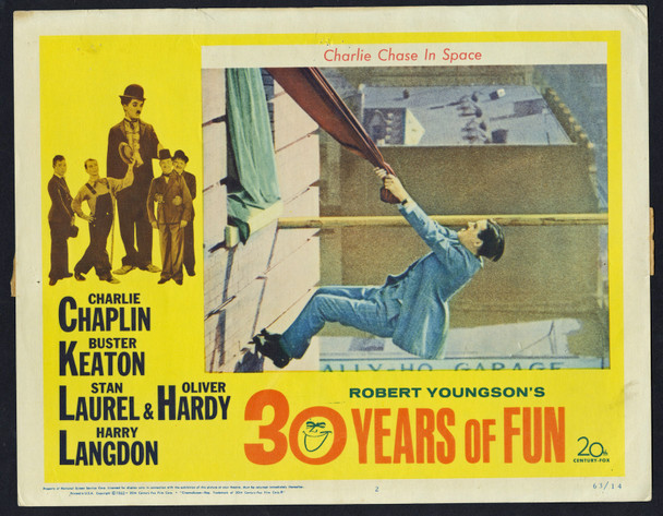 ROBERT YOUNGSON'S 30 YEARS OF FUN (1963) 29492  Charlie Chase Original U.S. Scene Lobby Card (11x14) Fine Plus Condition