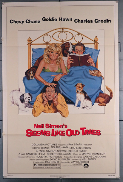 SEEMS LIKE OLD TIMES (1980) 11775 Movie Poster  Chevy Chase   Goldie Hawn   Charles Grodin   Art by Robert Tanenbaum Columbia PIctures Original U.S. One Sheet Poster (27x41) Folded  Theater Used  Very Good Plus Conditioin